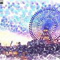 横浜の観覧車(淡彩点画)