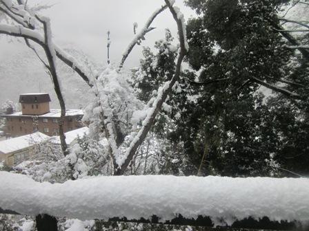 箱根は雪国。(こんなに手すりに積もっている)