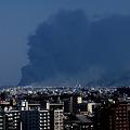 黒煙上る仙台港