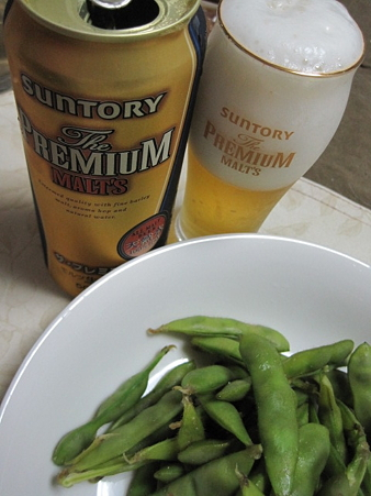 やっぱビールには枝豆。