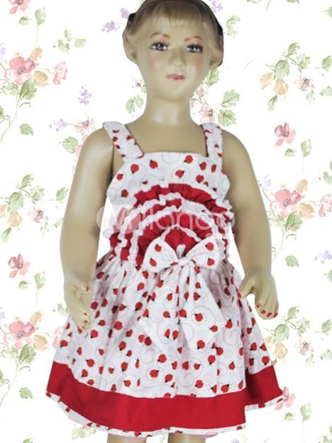 ホワイトとレッド 子供用 ロリータワンピース 花柄 コットン