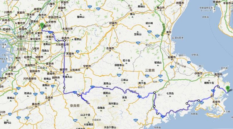 鳥羽志摩ドライブ旅行1日目の概略ルート